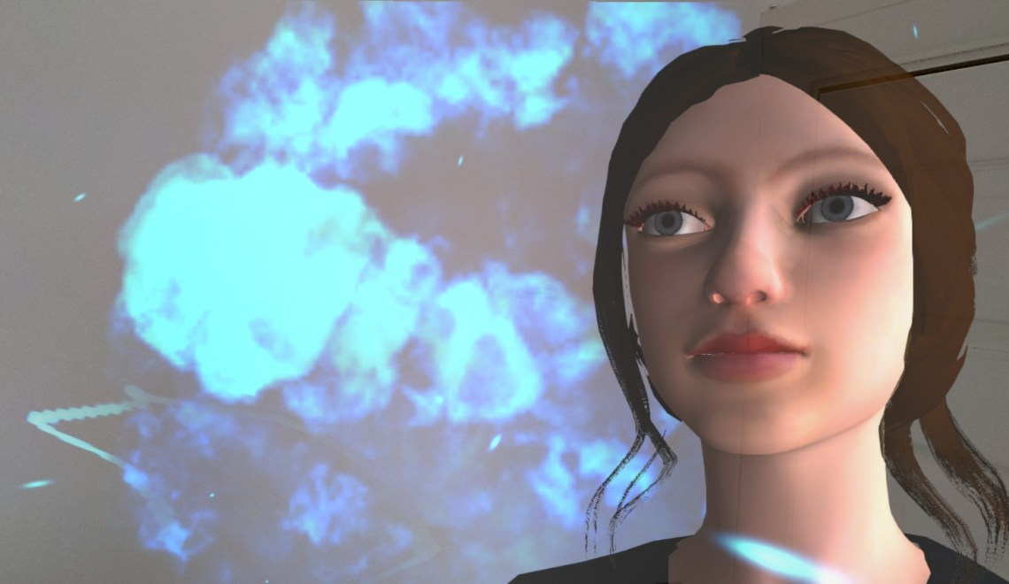 3D character model in front of visual effect explosion