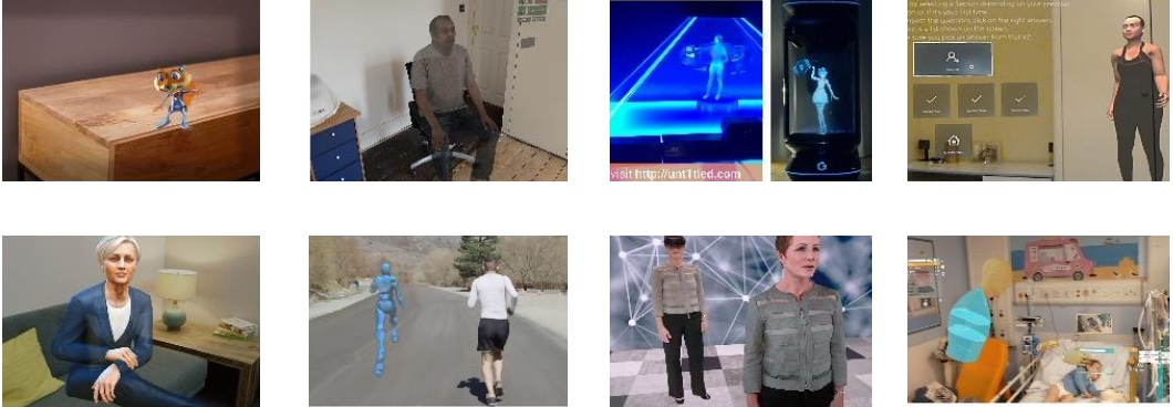 Pictures of the nine different holographic intelligent agents studied.